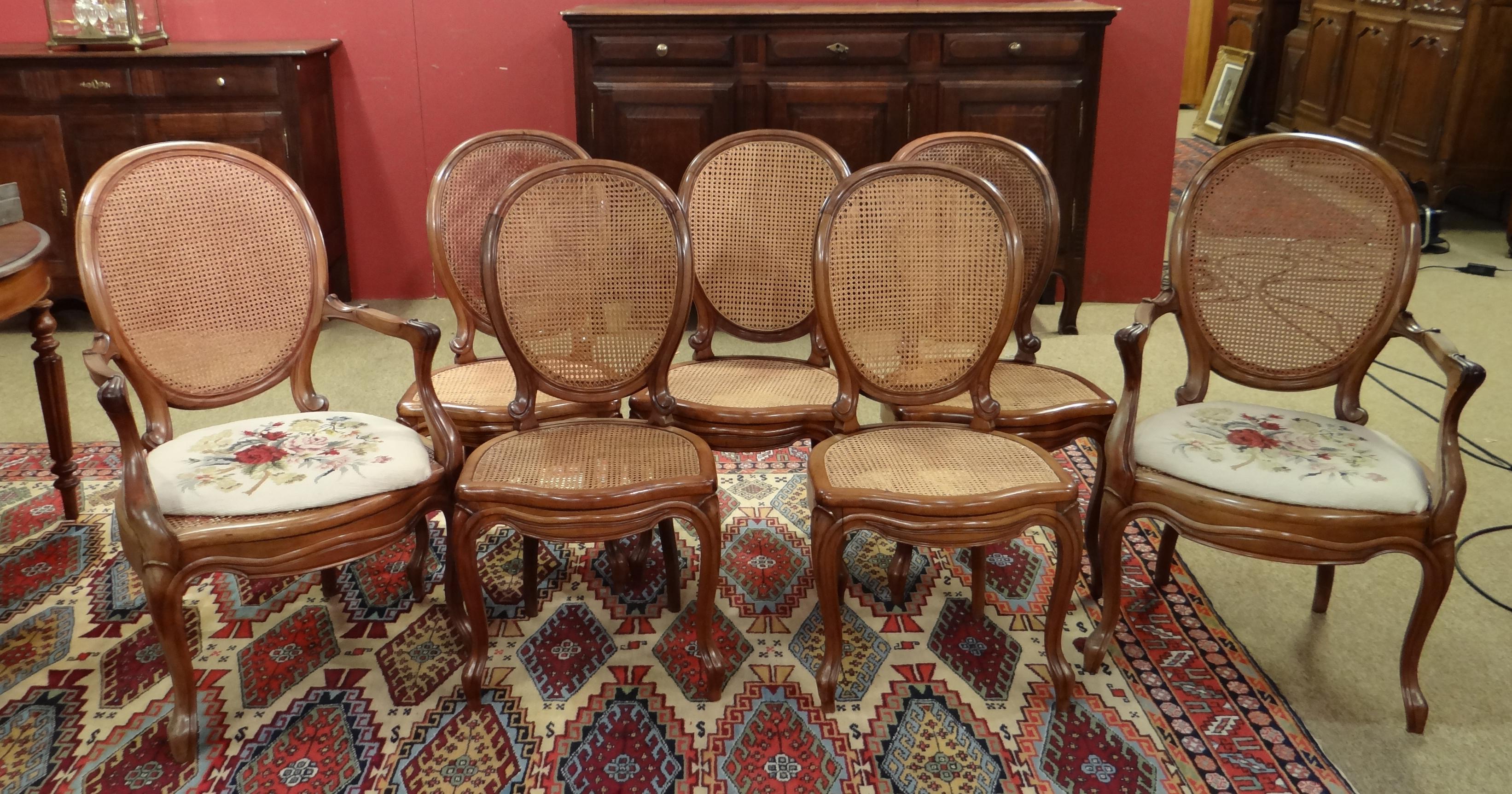 Meuble 5 chaises louis philippe acc paire de fauteuils m daillon cann s dont 2 assises - Chaises louis philippe cannees ...