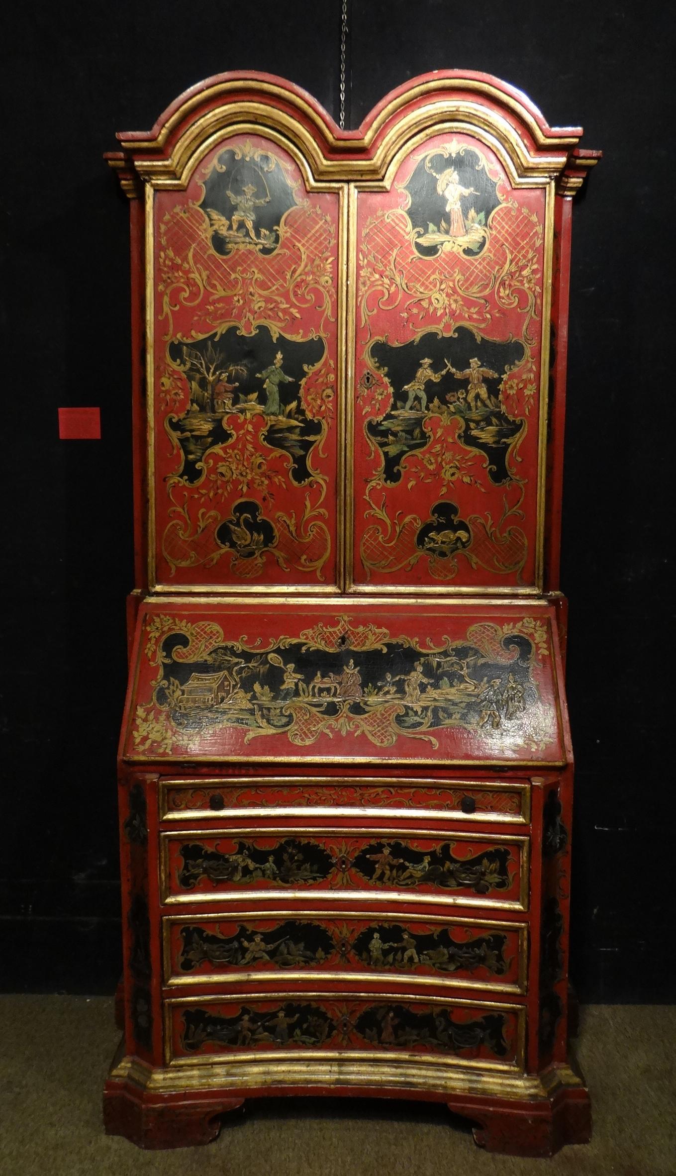 Meuble secr taire biblioth que de style laqu rouge peint de d cors chinois et rehauts d 39 or - Secretaire bibliotheque meuble ...